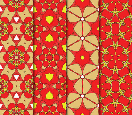 traditional pattern: set of geometric pattern in floral lace style. Ethnic ornament. Vector illustration. For modern interior design, fashion textile print, wallpaper, decor panel. red, gold, yellow color Illustration