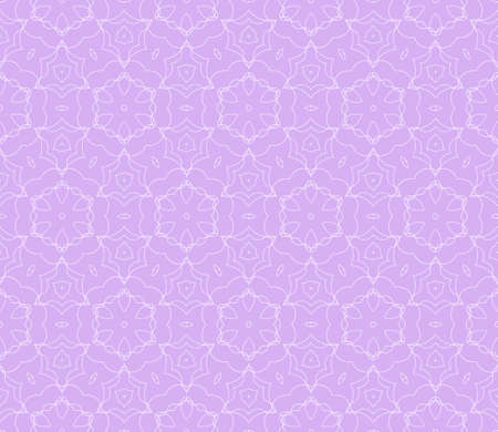 Purple color illustration. Easy festive ornament from abstract flower in the style of geometric transformations. Vector. For registration backgrounds, greeting cards, design. Seamless pattern.