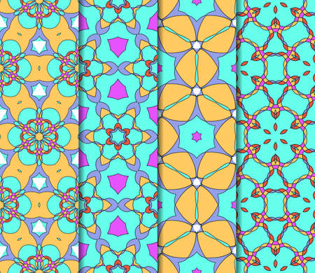 Set of 4 vertical e seamless lace pattern with elements of floral ornament. Different colored bases. vector illustration. For decorating invitations, fashion design, textiles
