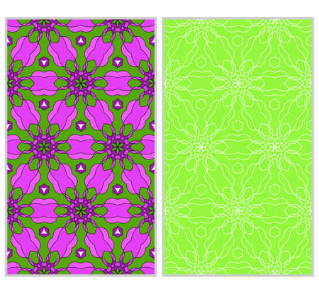 Set of 2 seamless floral pattern with hand drawn texture. Ornament for interior design, greeting cards, birthday or wedding invitations, fabric print. Ethnic background in arabian style. Illustration