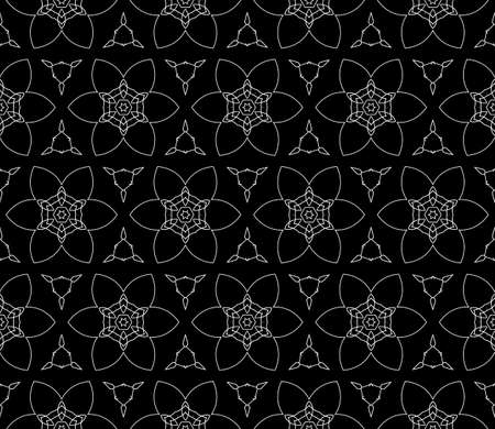 east indian: seamless flower pattern. abstract vector illustration. black on silver. for design invitation, background, wallpaper