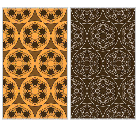 Set of 2 vertical e seamless lace pattern with elements of floral ornament, kaleidoscope mosaic. For decorating invitations, fashion design, textiles