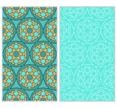 Set of 2 vertical e seamless lace pattern with elements of floral ornament, kaleidoscope mosaic. Different colored bases. For decorating invitations.