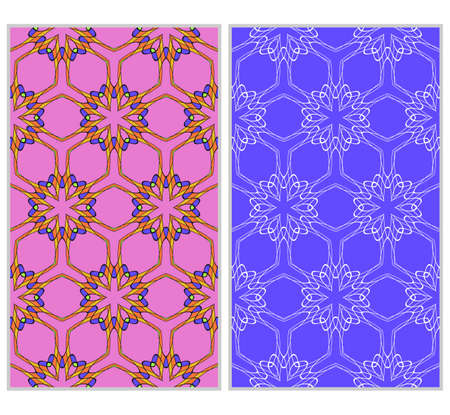 seamless ornamental pattern set. Floral geometric style. Vector illustration. For interior design, fabric print, page fill, wallpaper, textile Illustration