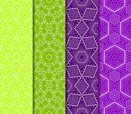 Set of 4 seamless vector patterns. Geometric floral pattern of lines and shapes. Modern design for backgrounds, wallpaper, invitations.