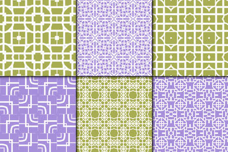 lace pattern: Set of 6 Decorative Seamless geometric pattern. Simple print. Vector illustration. Texture for design wrapping, invitation, cards