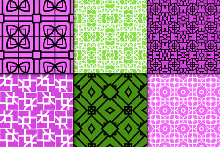 Set of 6 Seamless geometric ornament. vector illustration. for invitation, background, wallpaper
