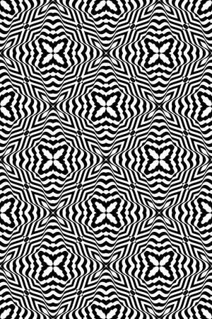 illusion zebra line. seamless geometric pattern. vector illustration. for invitation, wallpaper. black and white Stock Vector - 81963799