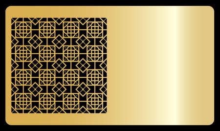 Business card template. Cut out cards with lace pattern. Modern geometric card for laser cutting. Vector illustration. Gold metal Vetores