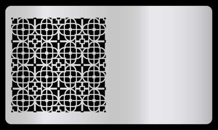 Modello di biglietto da visita. Taglio laser, design argento. Moderna carta geometrica per il taglio laser. Illustrazione vettoriale