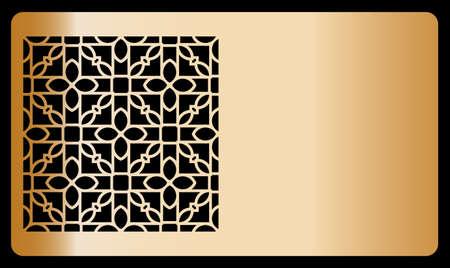 template laser cutting for Business card. bronze design. Decorative geometric ornament. Vector illustration.