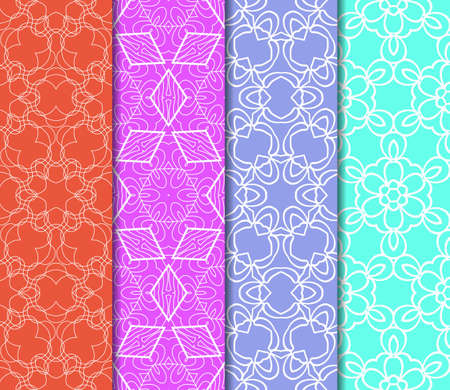pen and marker: Set of seamless vector patterns. Geometric floral pattern of lines and shapes. Modern design for backgrounds, wallpaper, invitations.