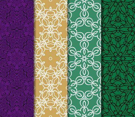 ethno: Set of decorative ethnic ornament. Seamless vector illustration. Floral style. For interior design, fabric print, page fill, wallpaper, textile