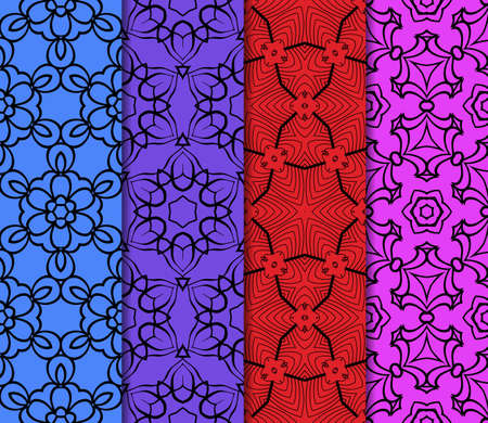 wallpape: set of original geometric floral patterns. modern ornament. vector illustration for design invitation, background, wallpaper