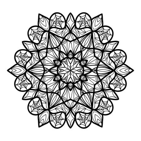 floral Mandala decorative ornament. Vector illustration. for coloring book, greeting card, invitation, tattoo. Anti-stress therapy pattern. Illustration
