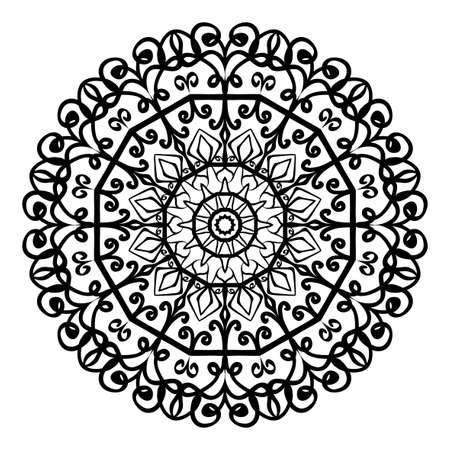 Floral Mandala decorative ornament vector illustration for coloring book, greeting card, invitation, tattoo. Anti-stress therapy pattern.