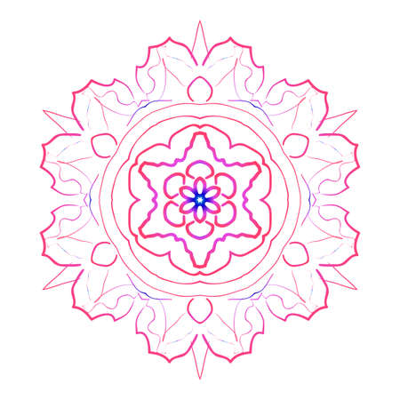 A mandala creative anti-stress ornament vector illustration blue, purple color.