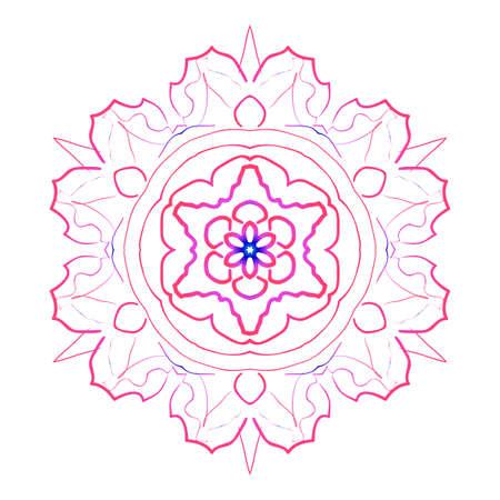 A mandala creative anti-stress ornament vector illustration blue, purple color.