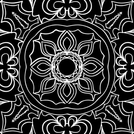 Floral pattern vector illustration of hand-drawn henna India tribal paisley background