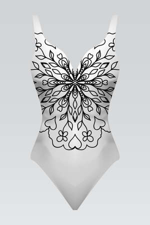 Vector fashion illustration, women's swimsuit with mandala fabric texture. Иллюстрация
