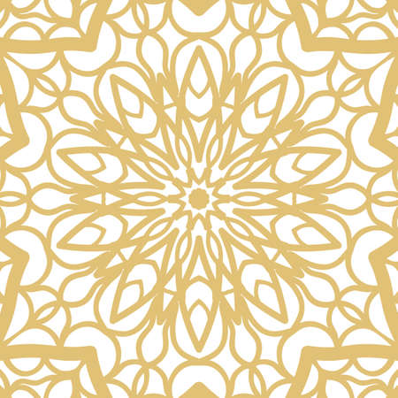 Abstract gold floral hand-drawn pattern vector illustration