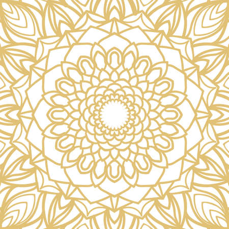 Golden abstract floral hand-drawn pattern vector illustration