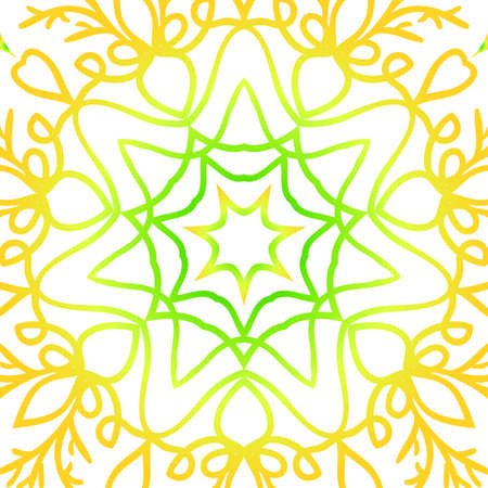 A summer color floral background with hand drawn ethnic decorative ornament vector illustration.