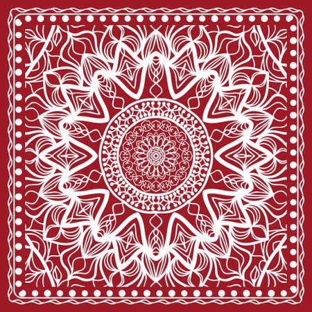 Floral paisley medallion ornamental rug. Ethnic mandala frame. Фото со стока - 97417275