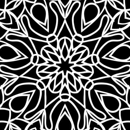 oriental floral pattern. vector illustration. hand drawn kaleidoscope background