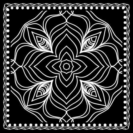 Black and white Bandana Print with mandala pattern Vector illustration. Illustration