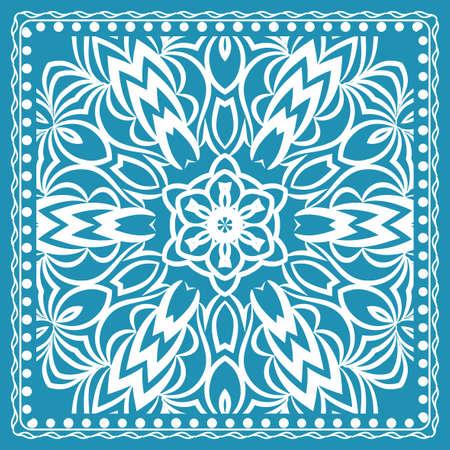 Design of the silk shawl print with geometric flower pattern. Vettoriali