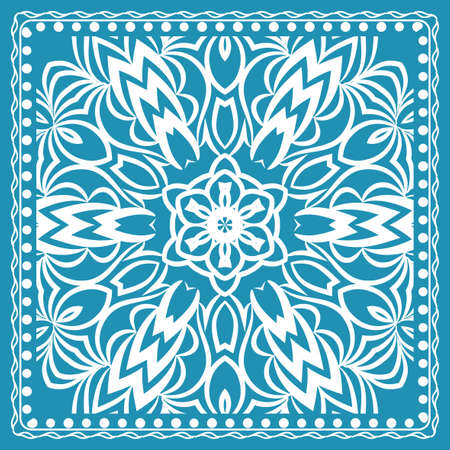 Design of the silk shawl print with geometric flower pattern. Illustration