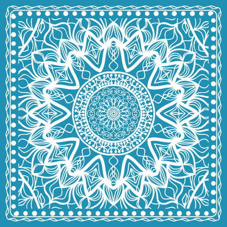 Design of the Silk Shawl Print with Geometric Flower Pattern Vector illustration.