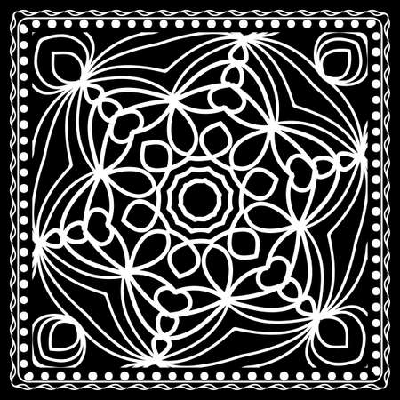 Black and white Bandana Print with mandala pattern, silk neck scarf   Vector illustration.