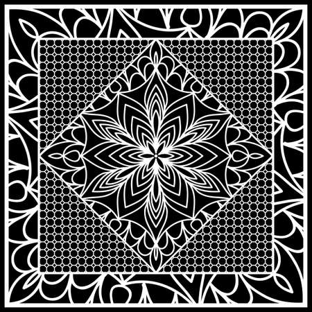 Composición cuadrada en encaje geométrico. Fondo floral de la mandala para la impresión de la bufanda, la tela, las cubiertas, el álbum de recortes, el pañuelo, el pareo, el mantón, el diseño de la alfombra. Ilustración vectorial