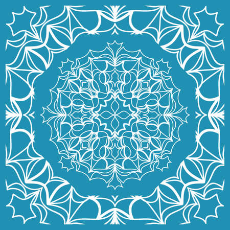 Floral Paisley Medallion Ornamental Rug. Ethnic Mandala Frame Vector illustration in Blue color Vectores