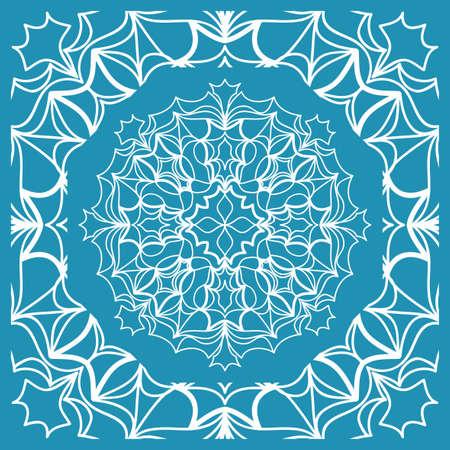 Floral Paisley Medallion Ornamental Rug. Ethnic Mandala Frame Vector illustration in Blue color Vettoriali