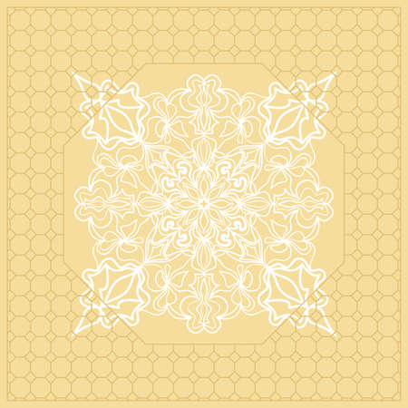 Template Print for Fabric. Pattern of Mandala with Border. Vector illustration. Golden color.