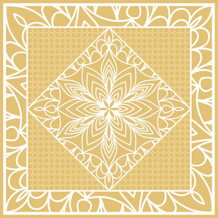 Template print for Sofa Square Pillow. Floral Geometric Pattern with hand-drawing Mandala. Vector illustration. Illustration