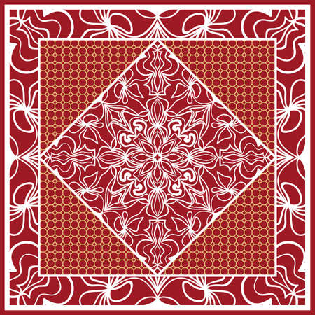 Design of Scarf with Mandala Flower Pattern. Vector illustration. Red color. Vettoriali