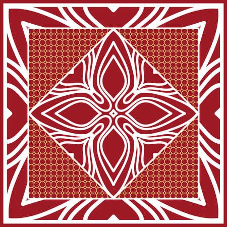 Design of Scarf with Mandala Flower Pattern. Vector illustration. Red color.  イラスト・ベクター素材
