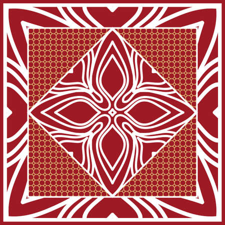 Design of Scarf with Mandala Flower Pattern. Vector illustration. Red color. Illustration