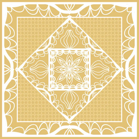 Template print for Sofa Square Pillow. Floral Geometric Pattern with hand-drawing Mandala. Vector illustration. 矢量图像