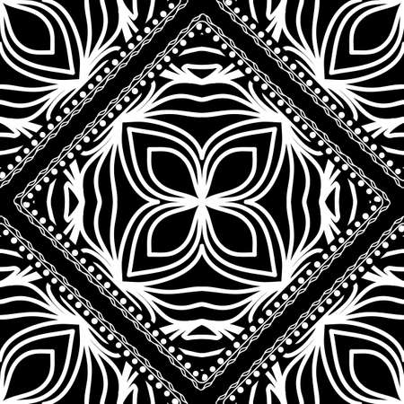 Close-up lace seamless pattern. Black and white. Vector. For scrapbooking, wallpaper, cases for smartphones, print, surface texture, pillows, bags. Illustration