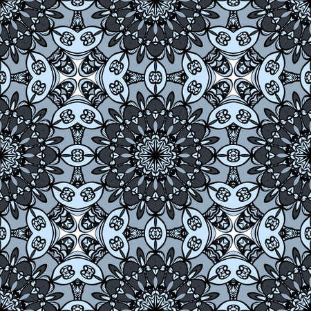 Flower seamless Mandala background in turquoise colors. Modern decorative elements. Oriental pattern. Vector illustration
