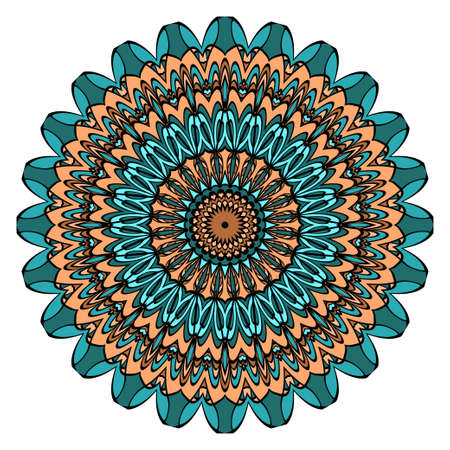 Ornamental circle pattern. Mandala. Vintage decorative elements. Hand drawn colorful vector background
