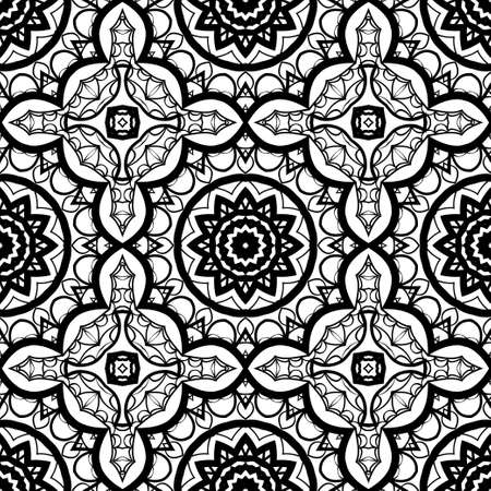 Seamless background with modern design. Floral mandala ornament.
