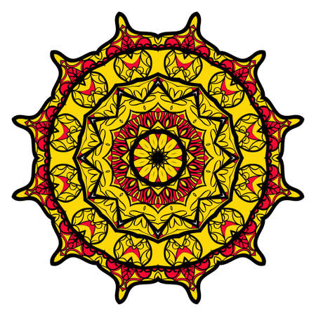 Sun color flower mandala. Illustration