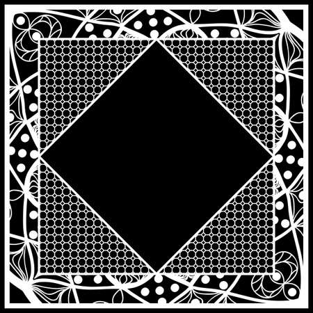 frame with floral lace ornament for fabric design. vector illustration. black, white color Illustration