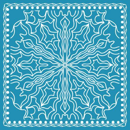 Design of the Silk Shawl Print with Geometric Flower Pattern.